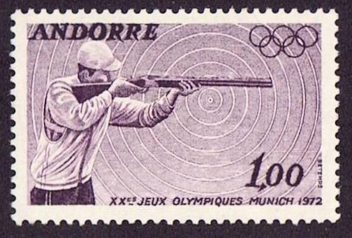 Andora Scott 213, MNH, Sports, Gun shooting, a single stamp