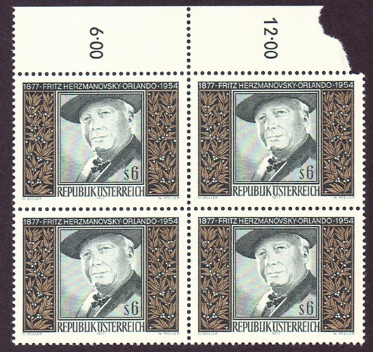 Austria Scott 1058, MNH, a BL4, Block of 4,  Fritz Hermanovsky
