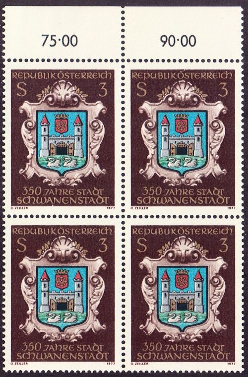 Austria Scott 1060, MNH, PAIR, Schwanenstadt 350th anniv.