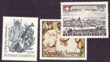 Austria Scott 0789, 790, 794, MNH, 3 single stamps