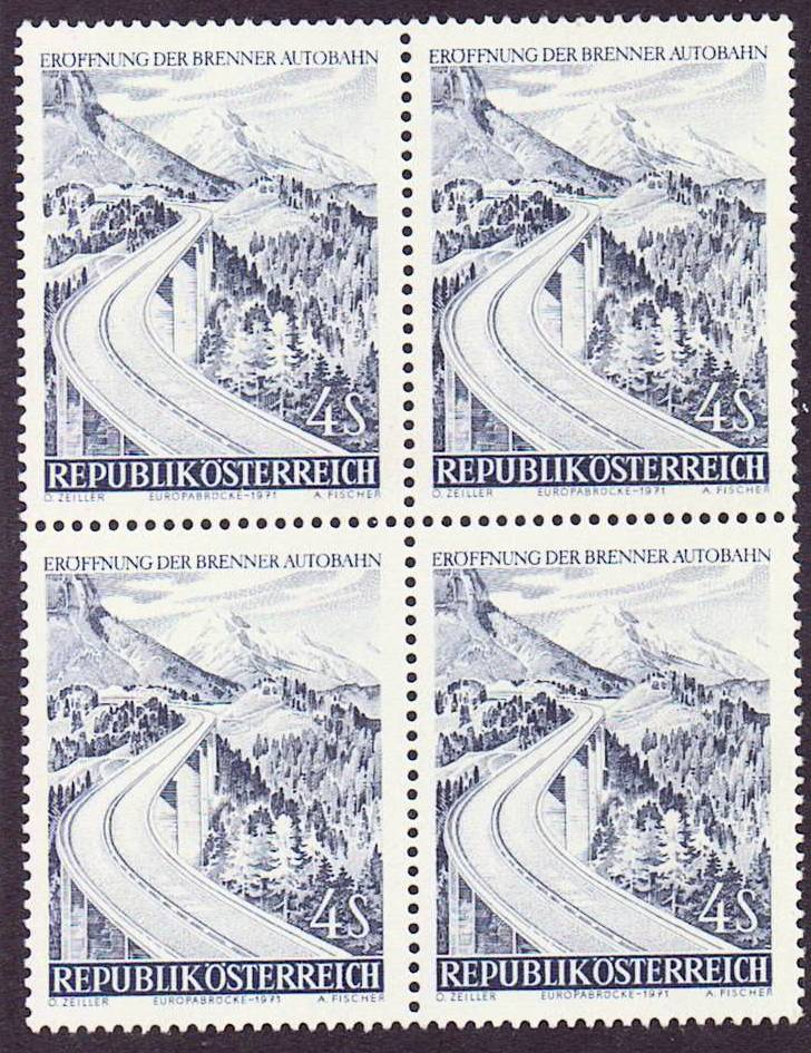 Austria Scott 0907, MNH, a block of 4