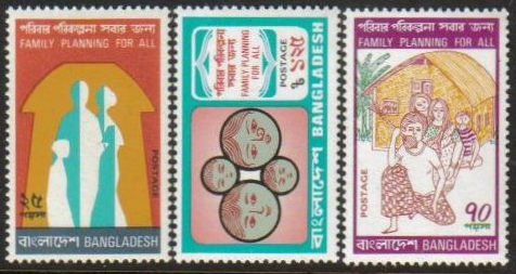 Bangladesh Scott 086-88, MNH, Family Planning, set of 3