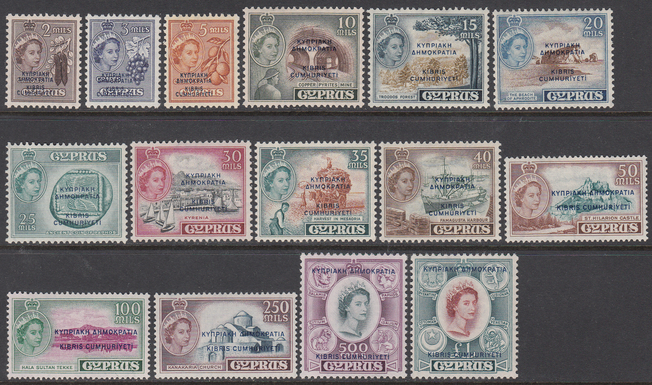 Cyprus Scott 183-197, MNH first Republic set of 15, SCValue $150