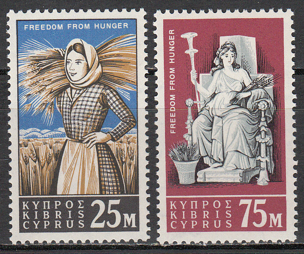 Cyprus Scott 222-223, MNH, FFH, Cyp Farm girl, set of 2, MNH