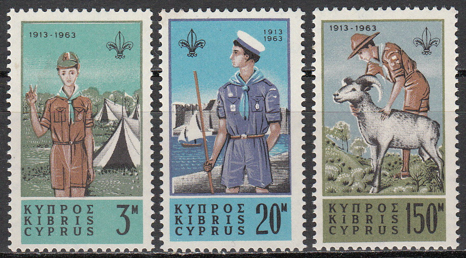 Cyprus Scott 224-226, MNH, Cub Scout and tents, set of 3, MNH