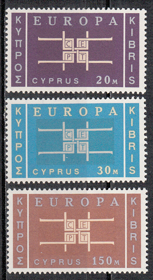 Cyprus Scott 229-231, MNH, Europa 1963, set of 3, MNH, Scott val