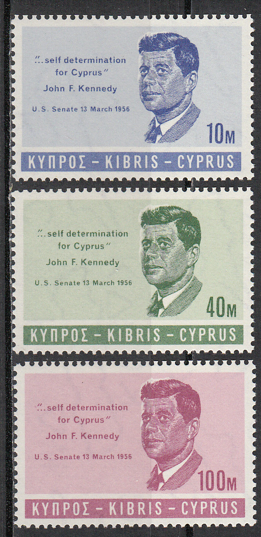 Cyprus Scott 251-253, MNH, Kennedy, complete set of 3, MNH