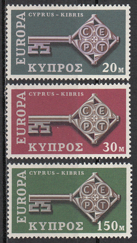 Cyprus Scott 314-316, MNH, Europa 1968, complete set of 3, MNH