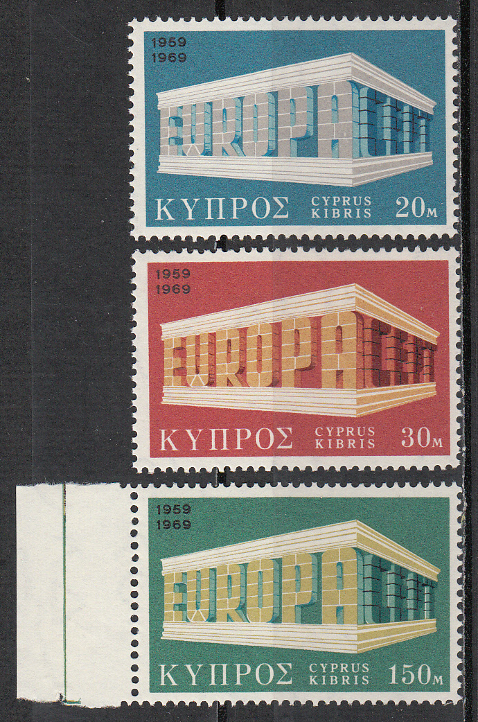 Cyprus Scott 326-328, MNH, Europa 1969, complete set of 3, MNH
