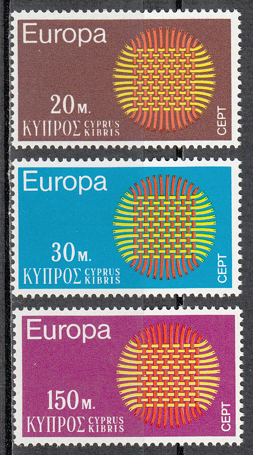 Cyprus Scott 340-342, MNH, Europa 1970, complete set of 3, MNH