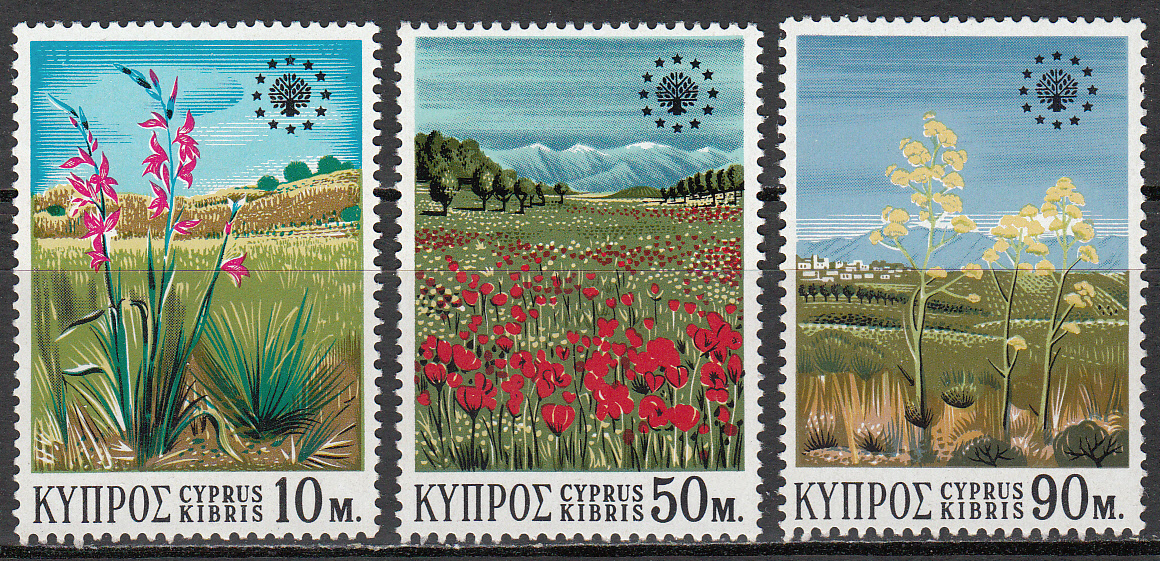 Cyprus Scott 343-345, MNH, Wild Flowers Conservation, complete s