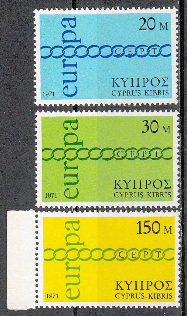 Cyprus Scott 365-367, MNH, Europa 1971, complete set of 3, MNH
