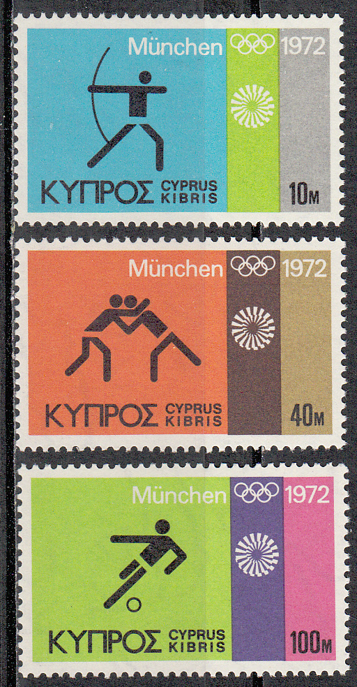 Cyprus Scott 383-385, MNH, Munich Olympics 1972, complete set of