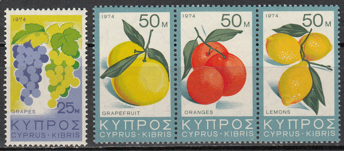 Cyprus Scott 412-415, MNH, Grapes and fruits complete set of 4,