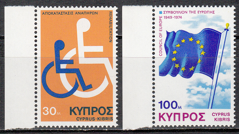 Cyprus Scott 432-433, MNH, Disabled Council of Eur, complete set