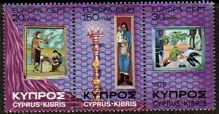 Cyprus Scott 436-438a, MNH, Europa 1975 strip of 3, complete set