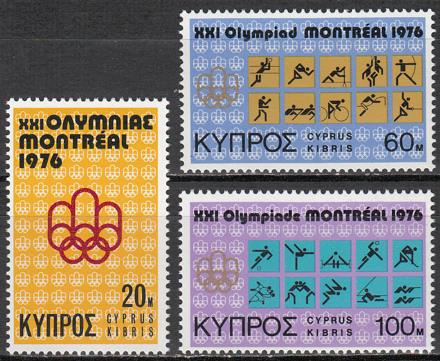 Cyprus Scott 465-467, MNH, 1976 Montreal Olympics, complete set
