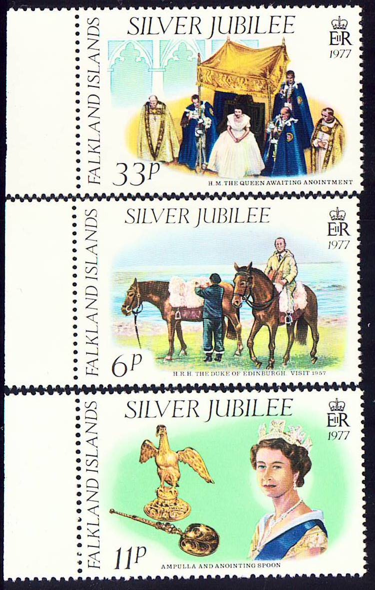 Falkland Scott 254-256, MNH, Silver Jubilee, set of 3 MNH with s
