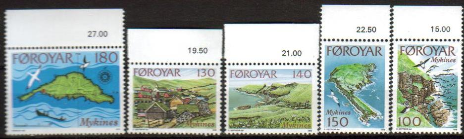 Faroe Island Scott 031-035, MNH, complete set of 5, views