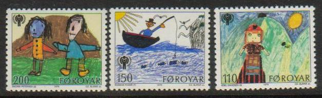 Faroe Island Scott 045-047, MNH, complete set of 3, Children pai