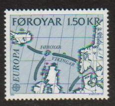 Faroe Island Scott 081, MNH, complete set of 1, Map, Vikingar