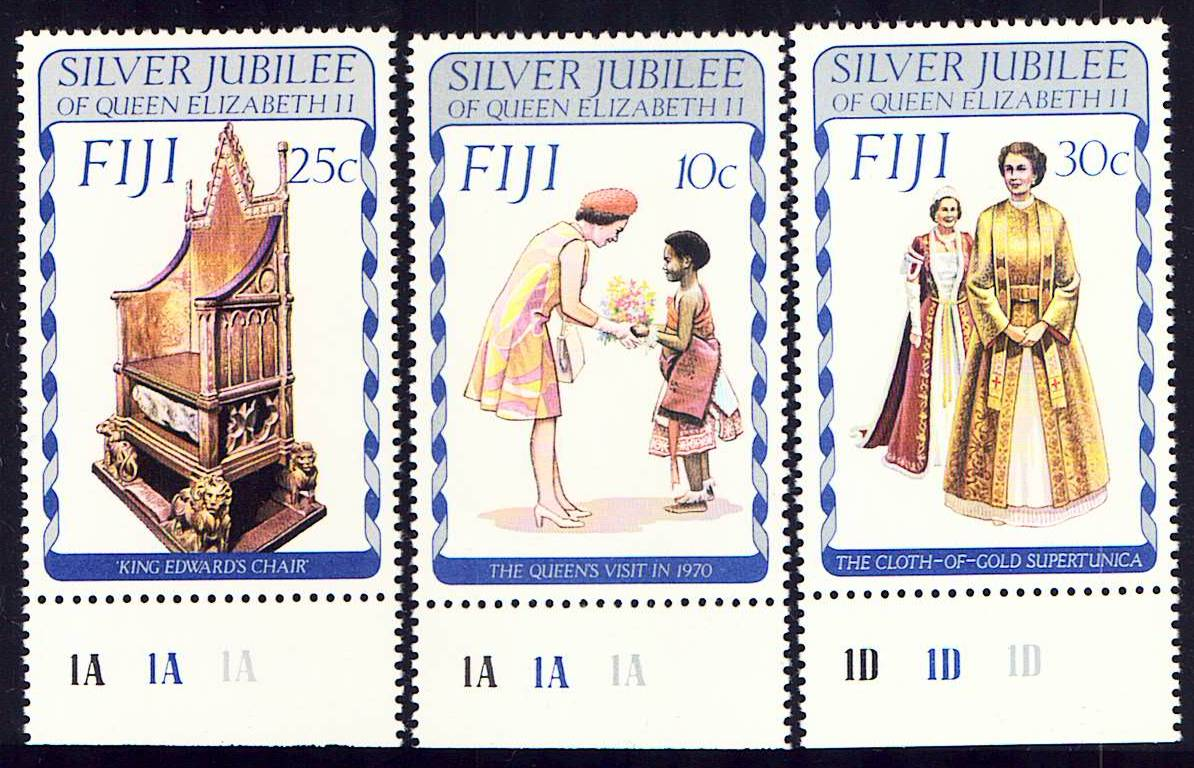 Fiji Scott 371-373, MNH, Silver Jubilee, QEII, with color code m