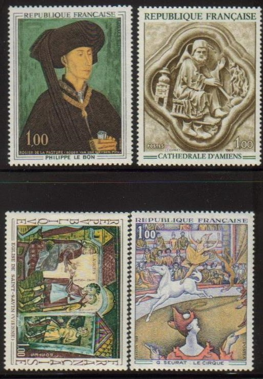 France Scott 1236-1239, MNH, Paintings Circus, set of 4