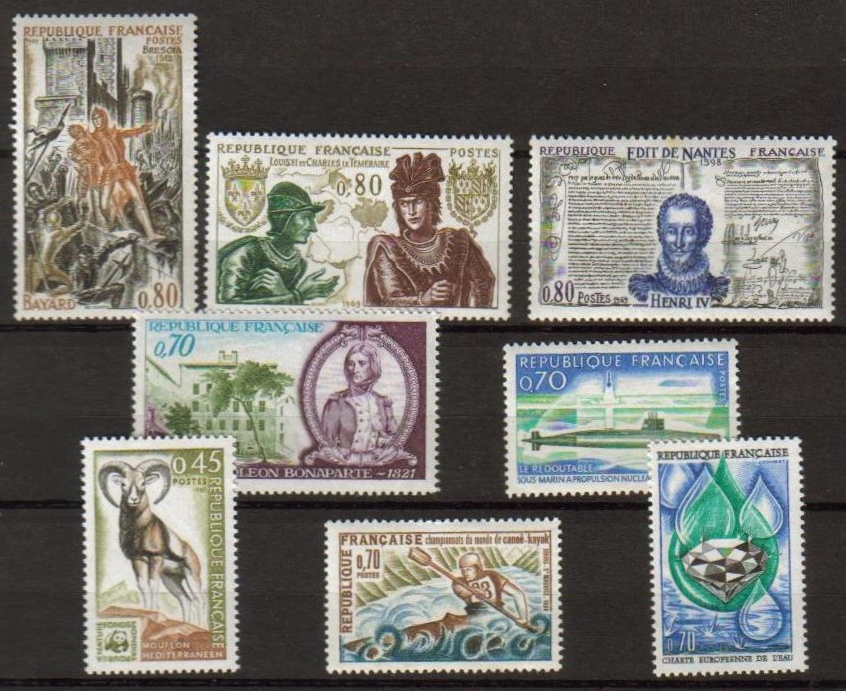 France Scott 1254-1262, MNH, group of 8 stamps, Kayak, Napoleon,