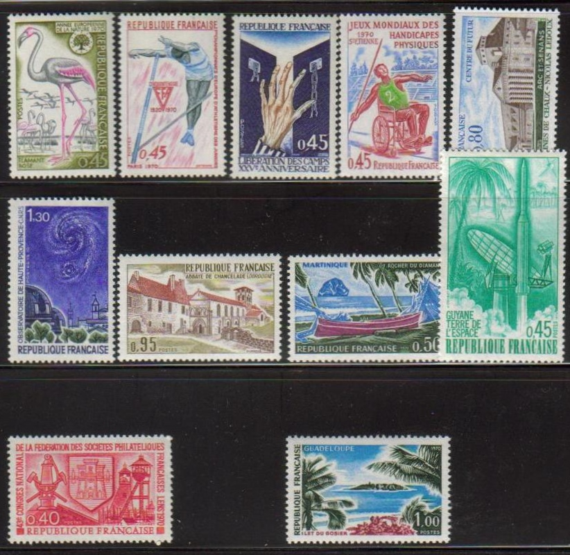 France Scott 1269-1285, MNH, group of 11, Diamont, Europa, Haute