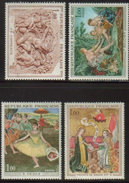 France Scott 1273-1276, MNH, Paintings, set of 4, Dance Bouquet