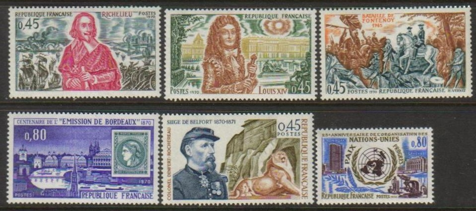 France Scott 1286-1291, MNH, Richelieu, Bordeau, UN, set of 6 pc