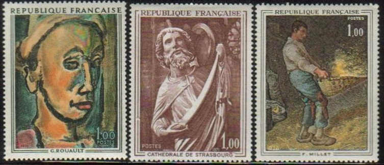 France Scott 1295-1297, MNH, Paintings set of 3, Dreamer, Franco