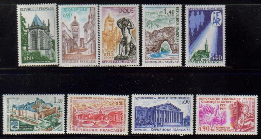 France Scott 1308-1320, MNH, group of 9, Grenoble, Chateau, Pont