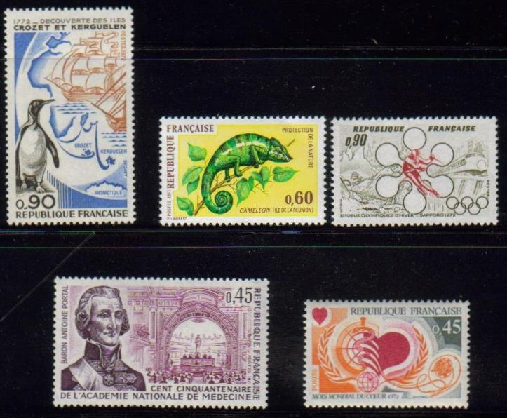 France Scott 1321-1333, MNH, group of 5, chameleon, Antoine Port