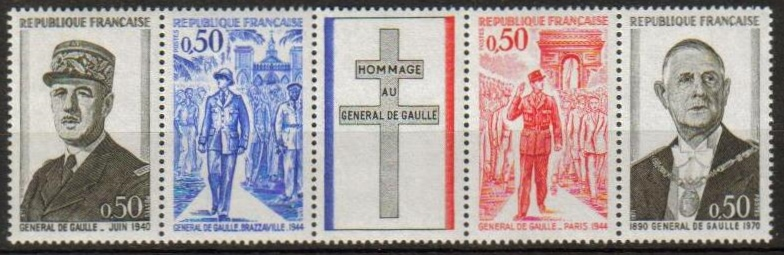 France Scott 1322-1325, MNH, De Gaulle, strip of 4 + label folde