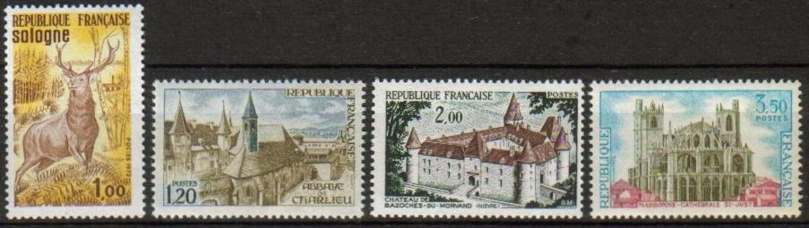 France Scott 1334-1337, MNH, Red Deer, Charlieu Abbey, Saint Jus