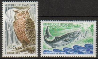 France Scott 1338-1339, MNH, set of 2 Eagle Owl, Salmon, Nature