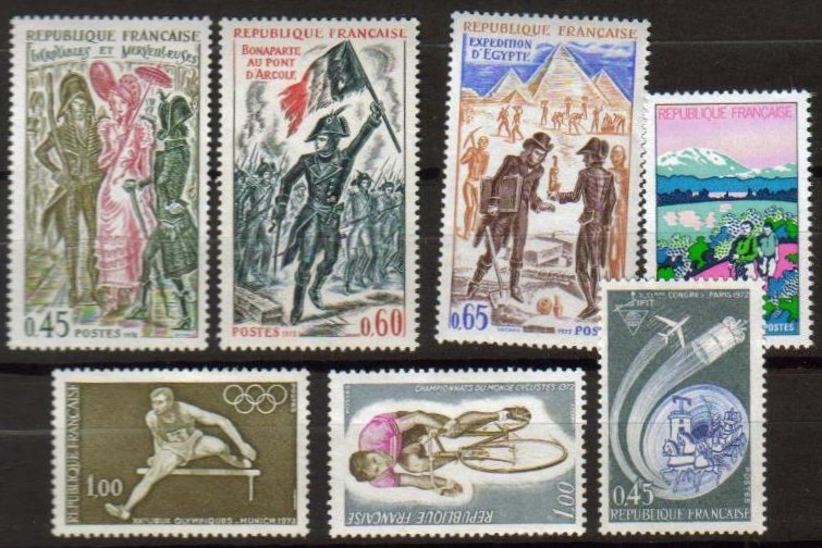 France Scott 1347-1353, MNH, Communications, Hurdler, Bicyclist,