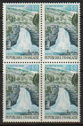 France Scott 1371, MNH, Block of 4, Doubs Waterfall