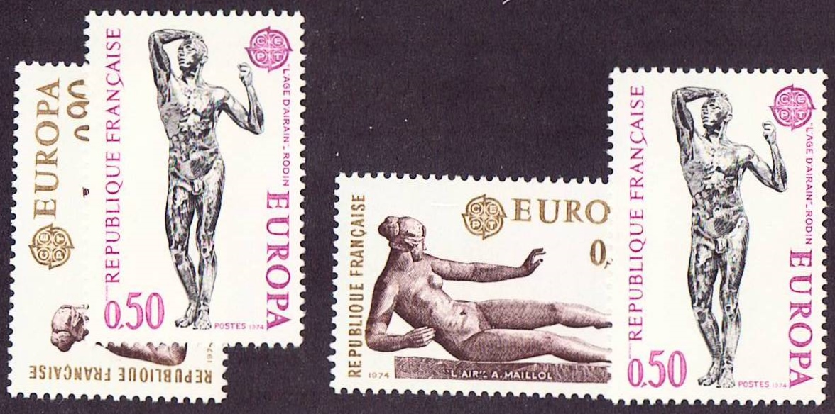 France Scott 1399-1400, MNH, 2 sets, Europa 1974 X 2 sets