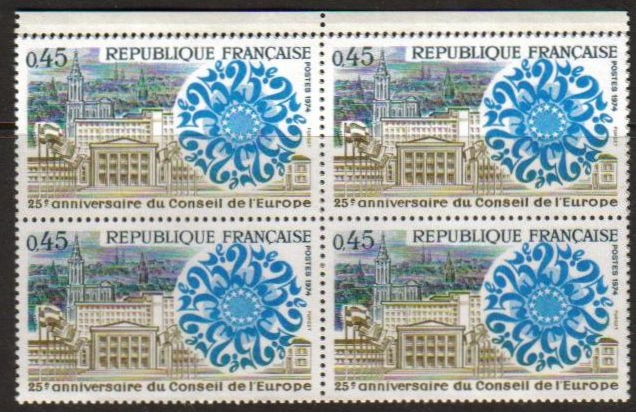 France Scott 1402, MNH, BL4, 25th Anniv Council of Europe, Block