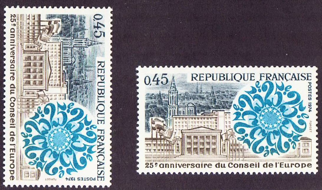 France Scott 1402, MNH, 25th Anniv. Council X 2 single stamps