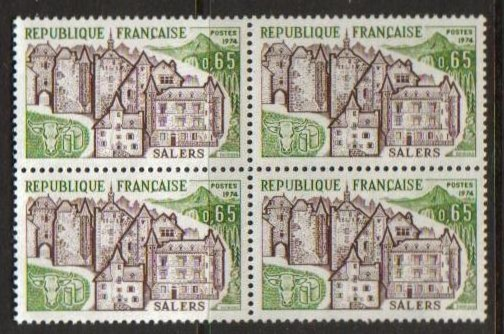 France Scott 1403, MNH, BL4, view of Salers, block of 4