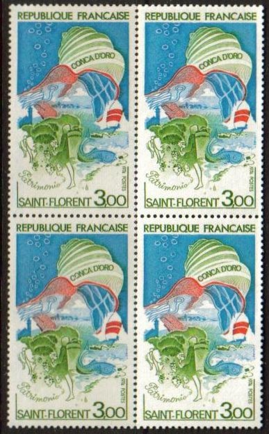 France Scott 1406, MNH, BL4, Saint Florent, block of 4