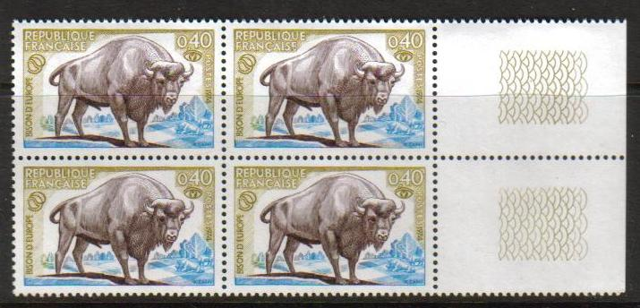 France Scott 1407, MNH, Block of 4 with margin,  Bison