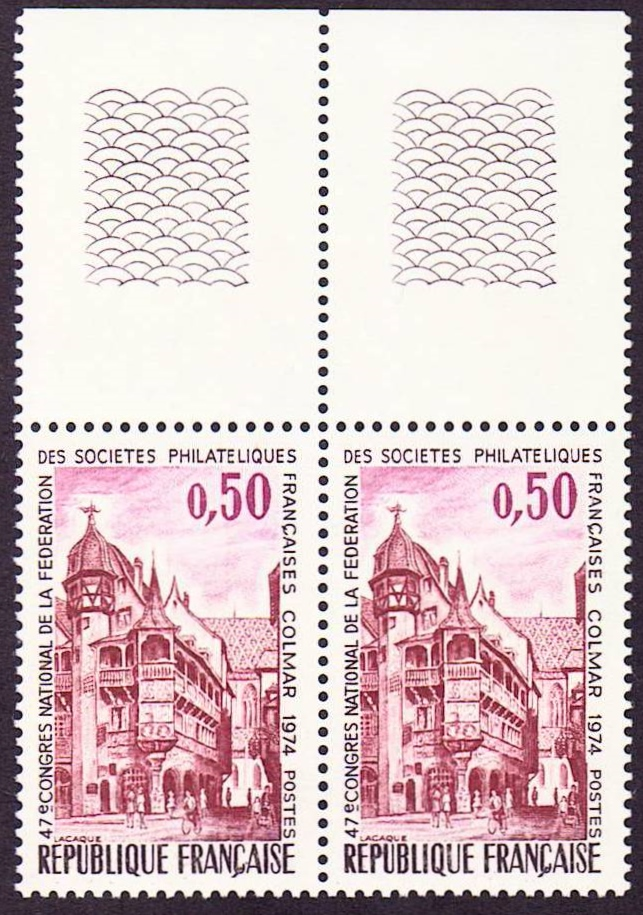France Scott 1412, MNH, Pair with tab, Pfister House, 47th ann.
