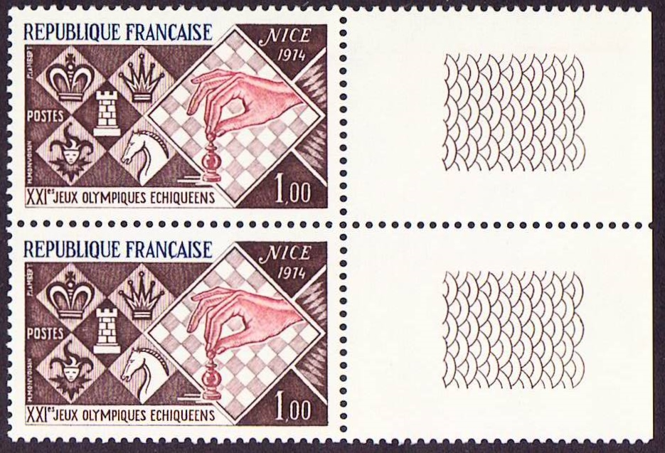France Scott 1413, MNH, Pair with tab, Chess Championship
