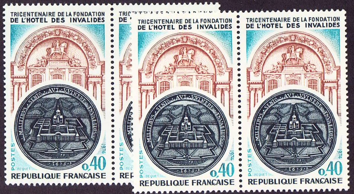 France Scott 1414, MNH, Two pairs = 4 stamps, Hotel des Invalide
