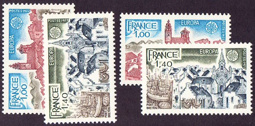 France Scott 1534-1535, MNH two sets of 2 stamps, Europa 1977