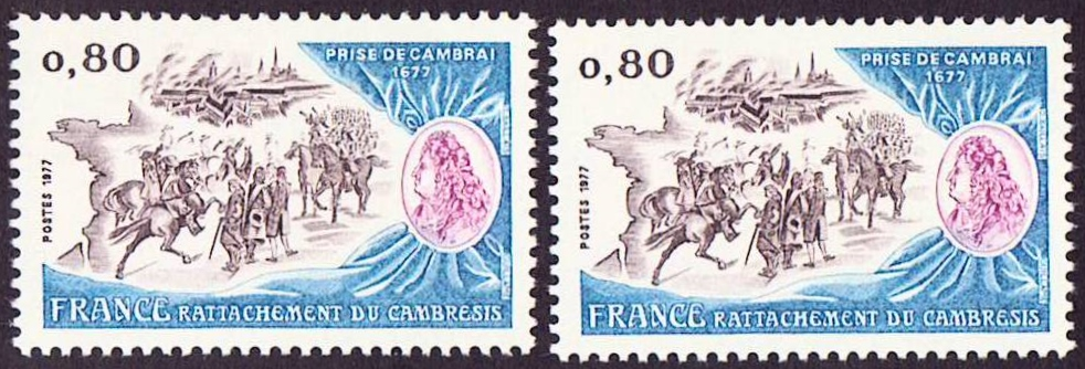 France Scott 1538, MNH, Battle of Cambray, 2 single stamps, Mint